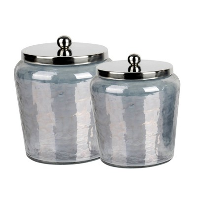 Set of 2 Smoke Lustre Glass Canisters with Stainless Steel Lids Black Wash - Nu Steel