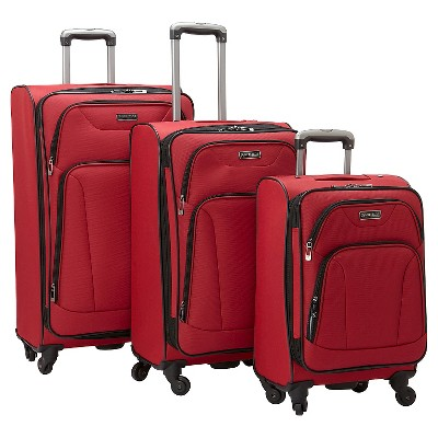 Heritage Wicker Park 3 Piece Nested Luggage Set Polyester Expandable Upright Suitcases - Red (20  24 , 28 )