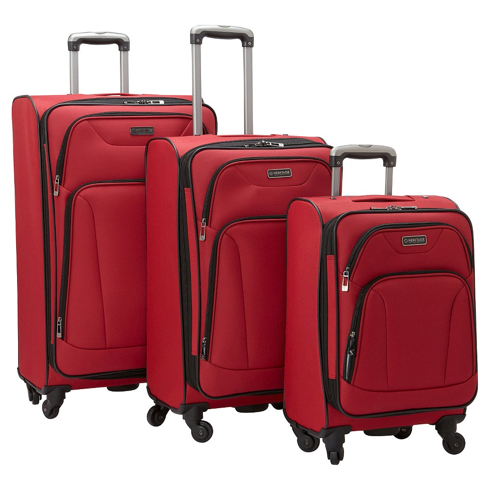Heritage Wicker Park 3 Piece Nested Luggage Set Polyester Expandable Upright Suitcases - Red (20 24