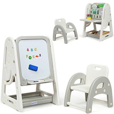 Costway 2 in 1 Kids Easel Desk Chair Set Book Rack Adjustable Art Painting Board Blue/Gray