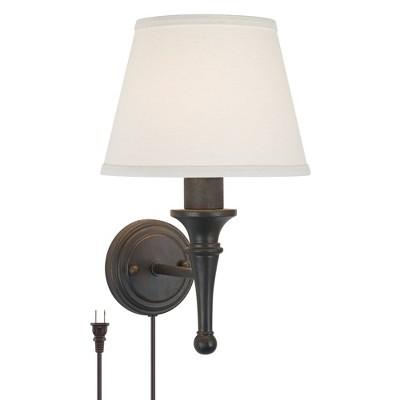 Regency Hill Farmhouse Wall Lamp Bronze Plug-In Light Fixture Ivory Cotton Empire Shade for Bedroom Bedside Living Room Reading
