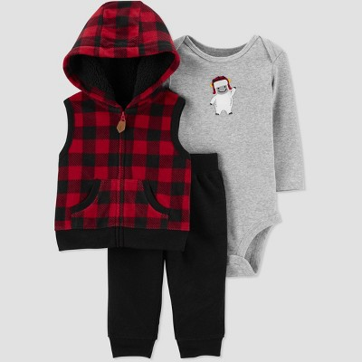 Baby Boys' 3pc Bodysuit, Check Vest Top & Bottom Set - Just One You® made by carter's Red/Black/Gray 9M