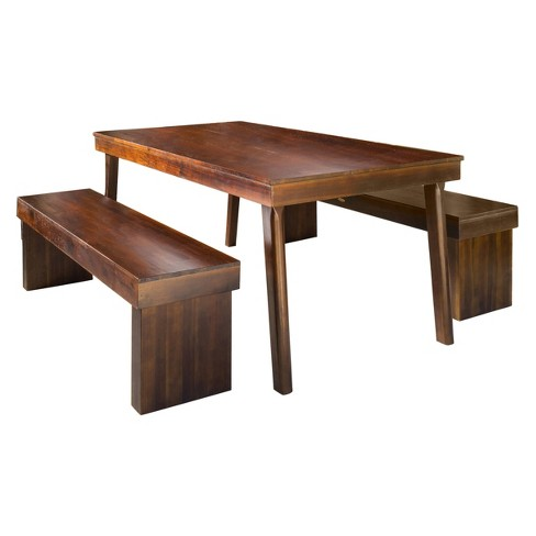 Greenway Rectangular Dining Table And Bench Rich Mahogany Christopher Knight Home