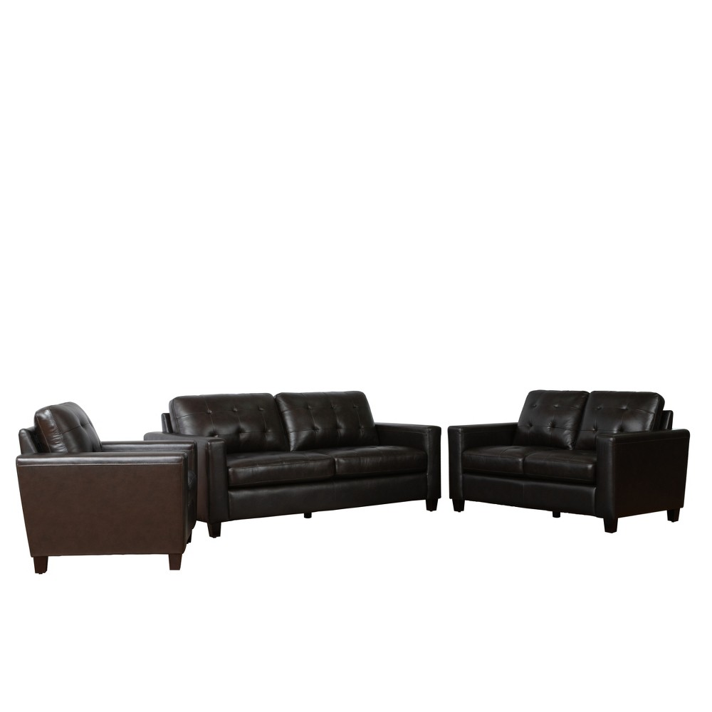 Strange Libson Top Grain Leather Sofa Set Brown Abbyson Living Gmtry Best Dining Table And Chair Ideas Images Gmtryco
