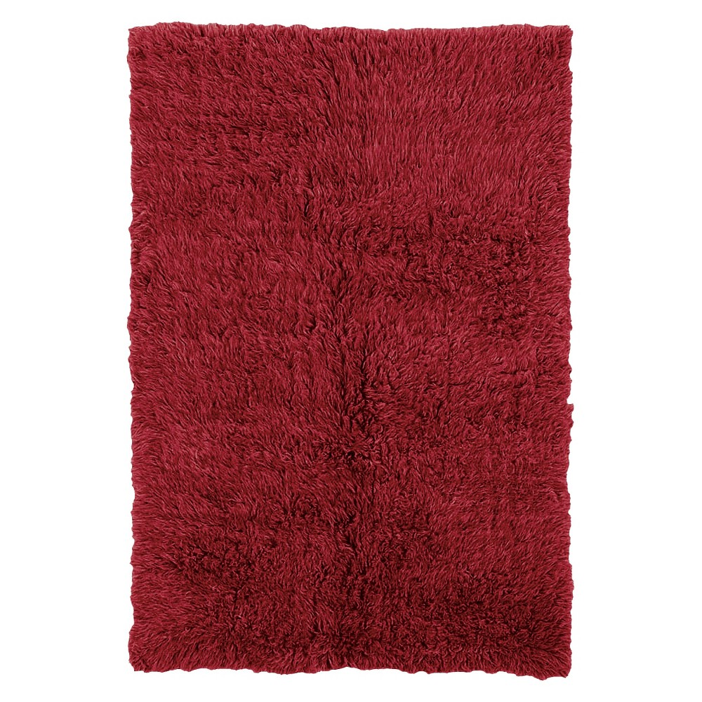 100% New Zealand Wool Flokati Area Rug - Red (8' Round)