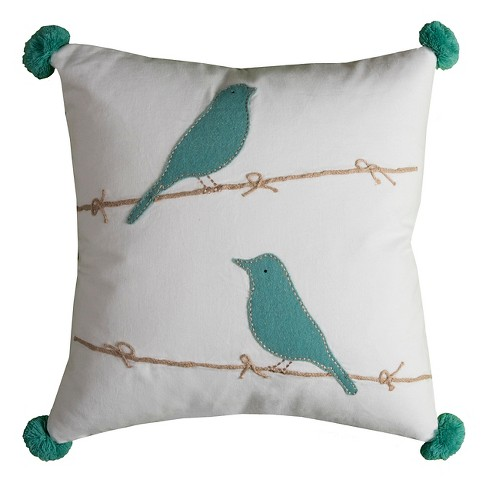 Aqua/Ivory Birds on Twine Throw Pillow - (18x18) - Rizzy Home - image 1 of 1