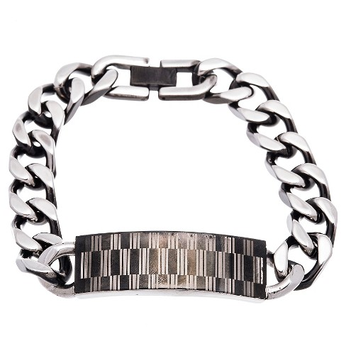 "Men's Two-Tone Stainless Steel Black IP and Rectangle Design ID Plate 8.5"" Bracelet - image 1 of 1"