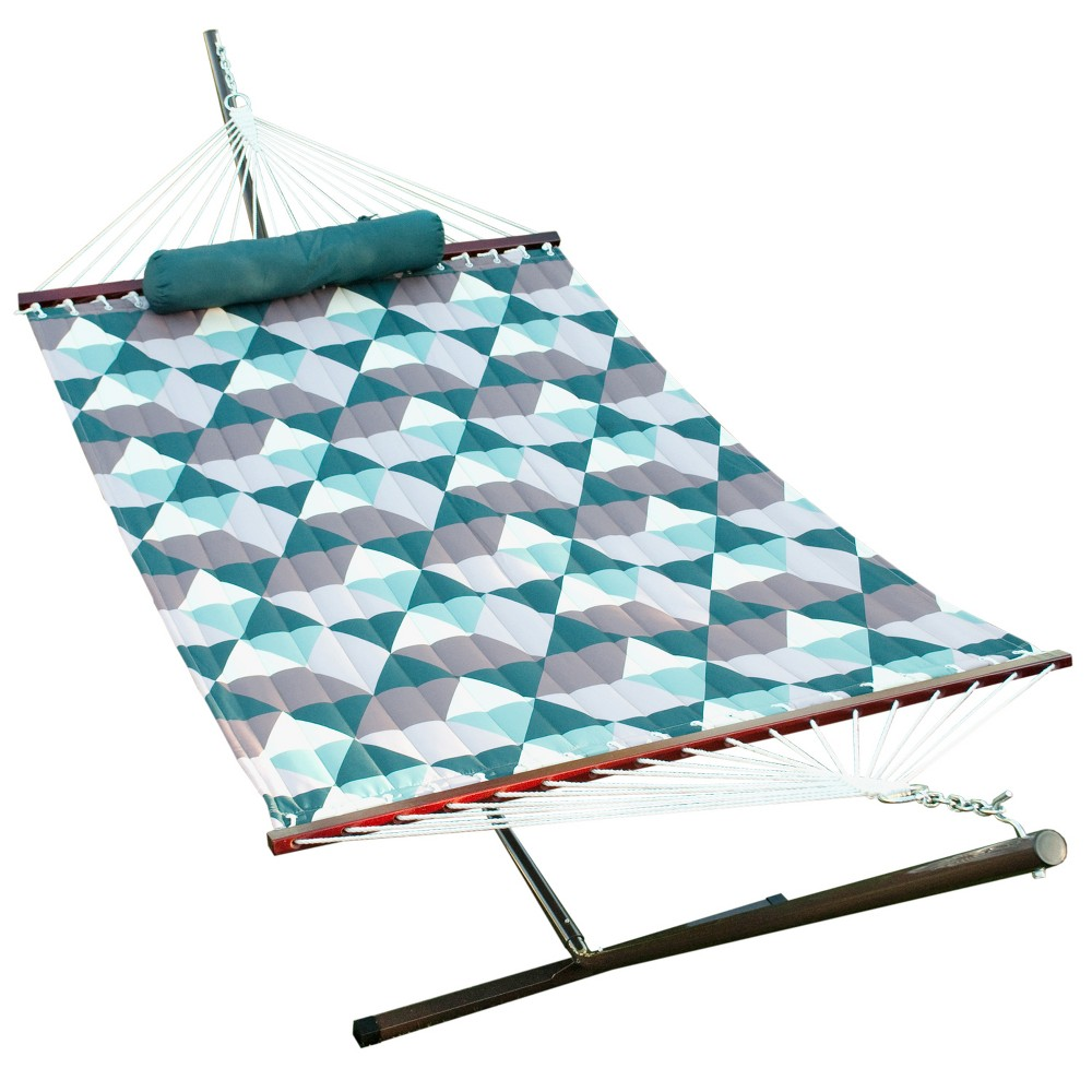 Image of 12' Hammock Combo - Metal Stand, Fabric Hammock, Pillow - Teal - Algoma, Blue
