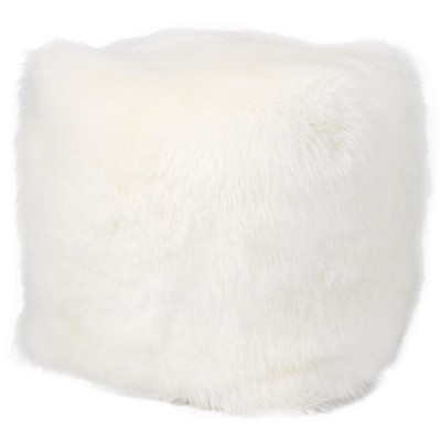 "Mina Victory Fur FL100 Indoor only Pouf - White 16"" x 16"" x 17"""