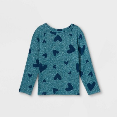 Toddler Girls' Heart Cozy Long Sleeve T-Shirt - Cat & Jack™ Teal