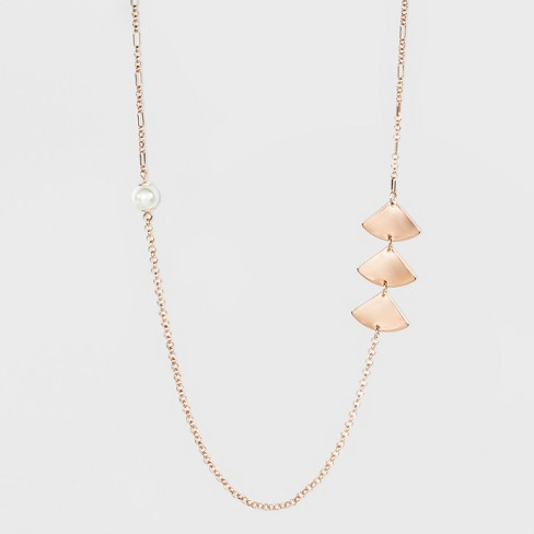 Two Faux Pearls and Six Triangle Charms Long Necklace - A New Day™ Rose Gold - image 1 of 3