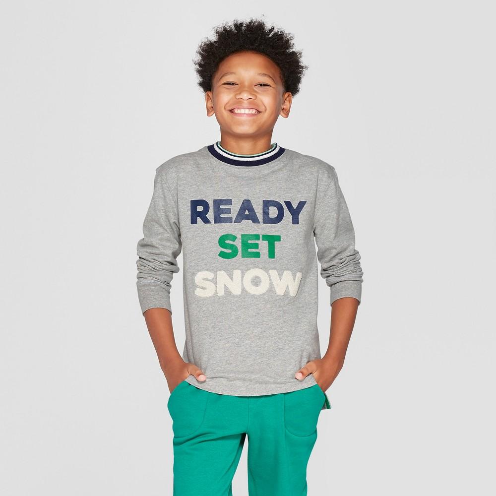 Boys' Ready Set Snow T-Shirt - Cat & Jack Gray XL