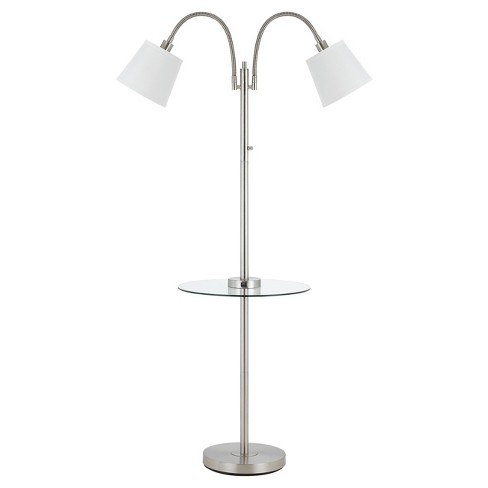 40w 3 Way Gail Metal Double Gooseneck Floor Lamp With Gl Tray Table Steel Includes Energy Efficient Light Bulb Cal Lighting