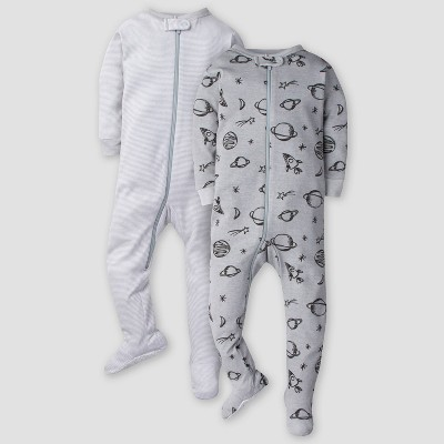 Gerber Baby Boys' 2pk Space Long Sleeve Footed Unionsuit - Gray 6M