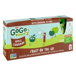 GoGo squeeZ Applesauce, Apple Cinnamon - 3.2oz/12ct