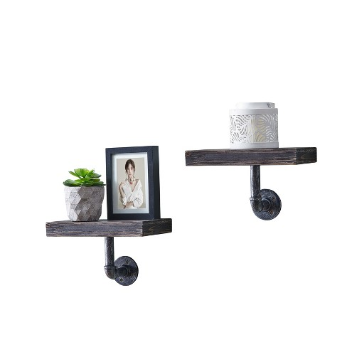 Industrial Wall Shelf - Set of 2 - Dark Brown - image 1 of 7