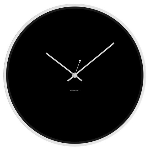 "12"" Round Wall Clock Black/White - JONSSON Timeware® - image 1 of 3"