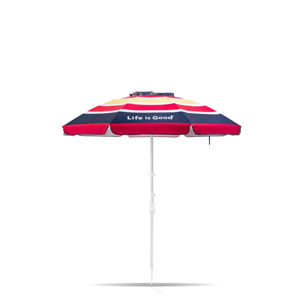 Image of 7' Aluminum Tilt Beach Umbrella Blue/Pink Stripe - Life is Good