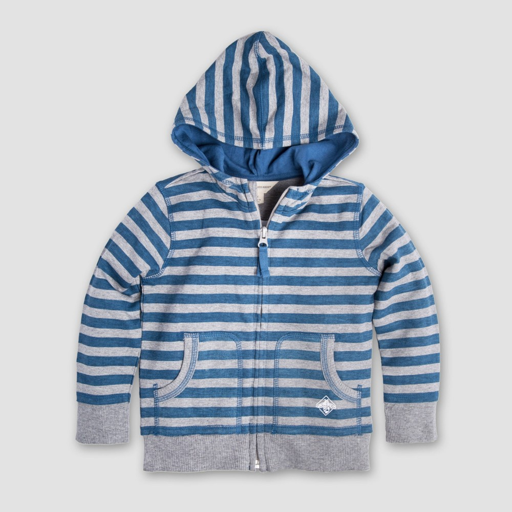 Burt's Bees Baby Boys' Organic Cotton French Terry Printed Stripe Zip Hoodie - Blue/Gray 0-3M, Multicolored