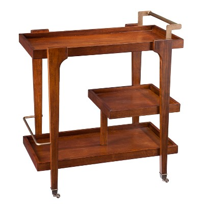 Zhori Midcentury Modern Bar Cart Dark Tobacco - Holly & Martin