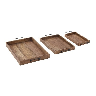 Set of 3 Farmhouse Slat Style Mango Wood and Iron Trays Brown - Olivia & May