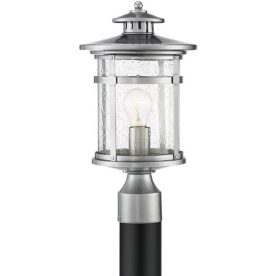 """Franklin Iron Works Industrial Outdoor Post Light Chrome 16"""" Clear Seedy Glass Lantern for Exterior Garden Yard Patio Driveway"""