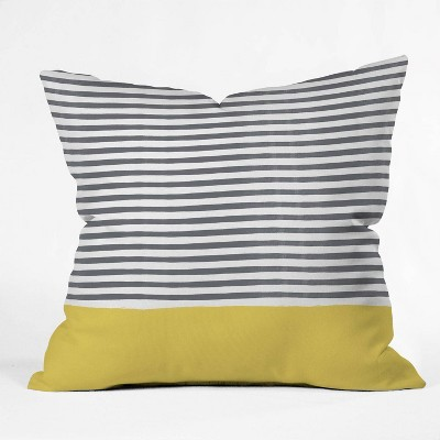 """18""""x18"""" Hello Twiggs Watercolor Stripes Square Throw Pillow Mustard - Deny Designs"""