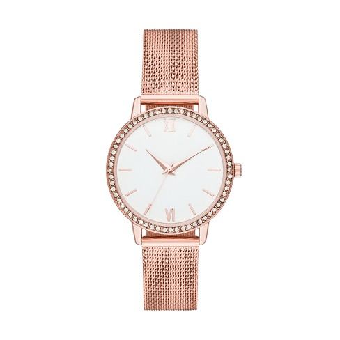 319820fcd Women's Crystal Mesh Strap Watch - A New Day™ Rose Gold : Target