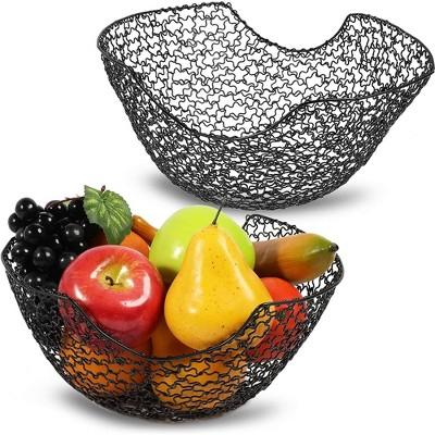 Okuna Outpost 2 Pack Wire Fruit Basket Bowl Storage Holder for Kitchen Counter, 2 Sizes, Black