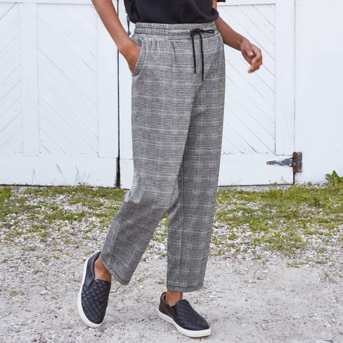 Women's High-Rise Plaid Ankle Length Pull-On Pants - A New Day™ - image 1 of 4