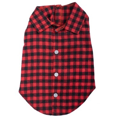 The Worthy Dog Flannel Button Up Look Buffalo Check Plaid Pet Shirt