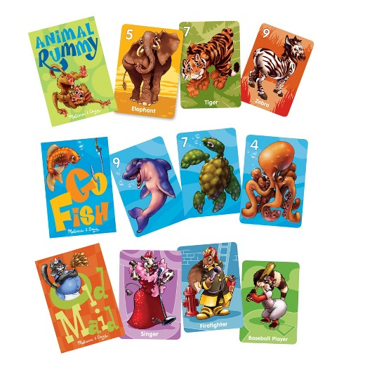 Melissa & Doug Classic Card Games Set - Old Maid, Go Fish, Rummy image number null