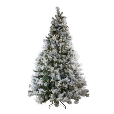 Northlight 7.5' Prelit Artificial Christmas Tree LED Lights Flocked Victoria Pine - Multicolor Lights