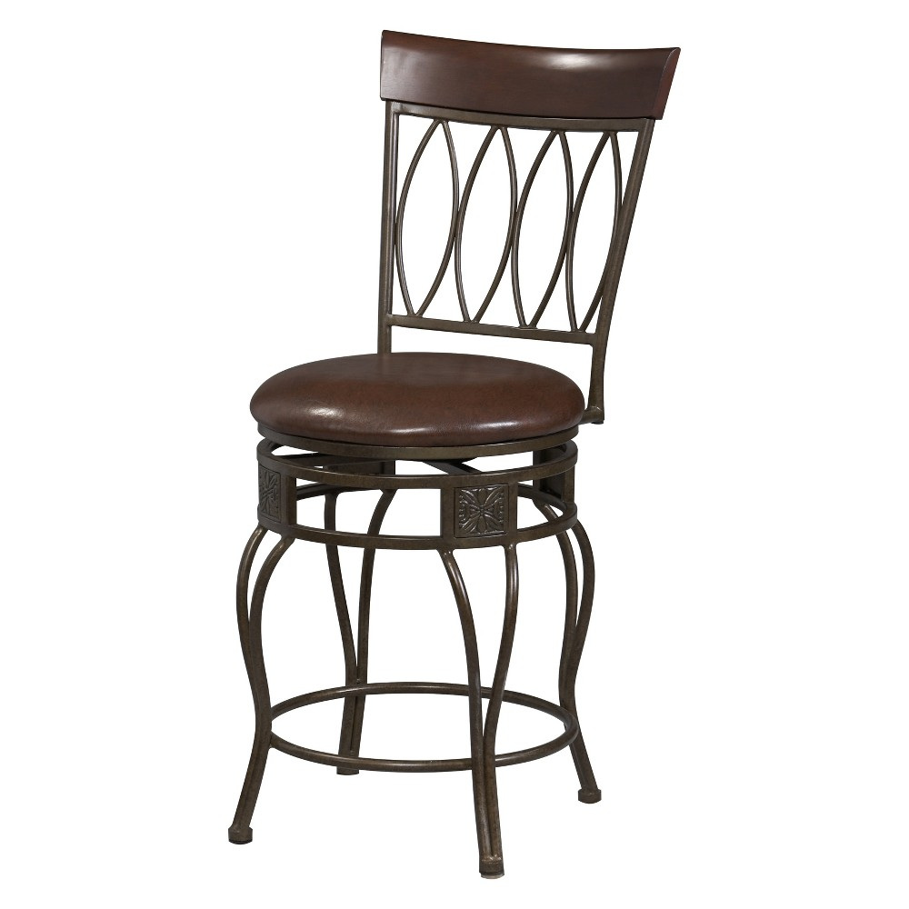 29 Four Oval Barstool with Upholstered Seat - Brown Metal - Linon