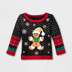 Baby Gingerbread Long Sleeve Ugly Holiday Sweater - 33 Degrees - Black