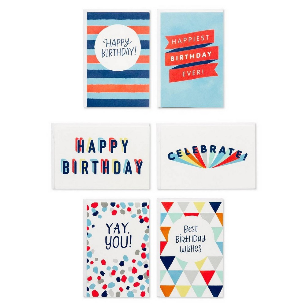 48ct Birthday Celebration Greeting Card Bundle With White Envelopes, Multi-Colored Have the best birthday wishes on hand all year! This bold birthday greeting cards collection features a variety of contemporary, trend-forward designs sure to brighten anyone's big day. Festive expressions combine with colorful graphics for instant smiles, and invite you to create the perfect birthday message on the blank pages inside each card. A great value, this bulk birthday cards package includes 48 total cards (8 each of 6 unique designs) and envelopes. With so many amazing people in your life, you're sure to have a lot of birthdays to celebrate. When it's time to send your best birthday wishes, you'll be glad you have a stockpile of great birthday cards at your fingertips! Color: Multi-Colored.
