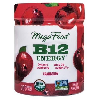 MegaFood B12 Energy Organic Vegan Gummies - Cranberry - 70ct