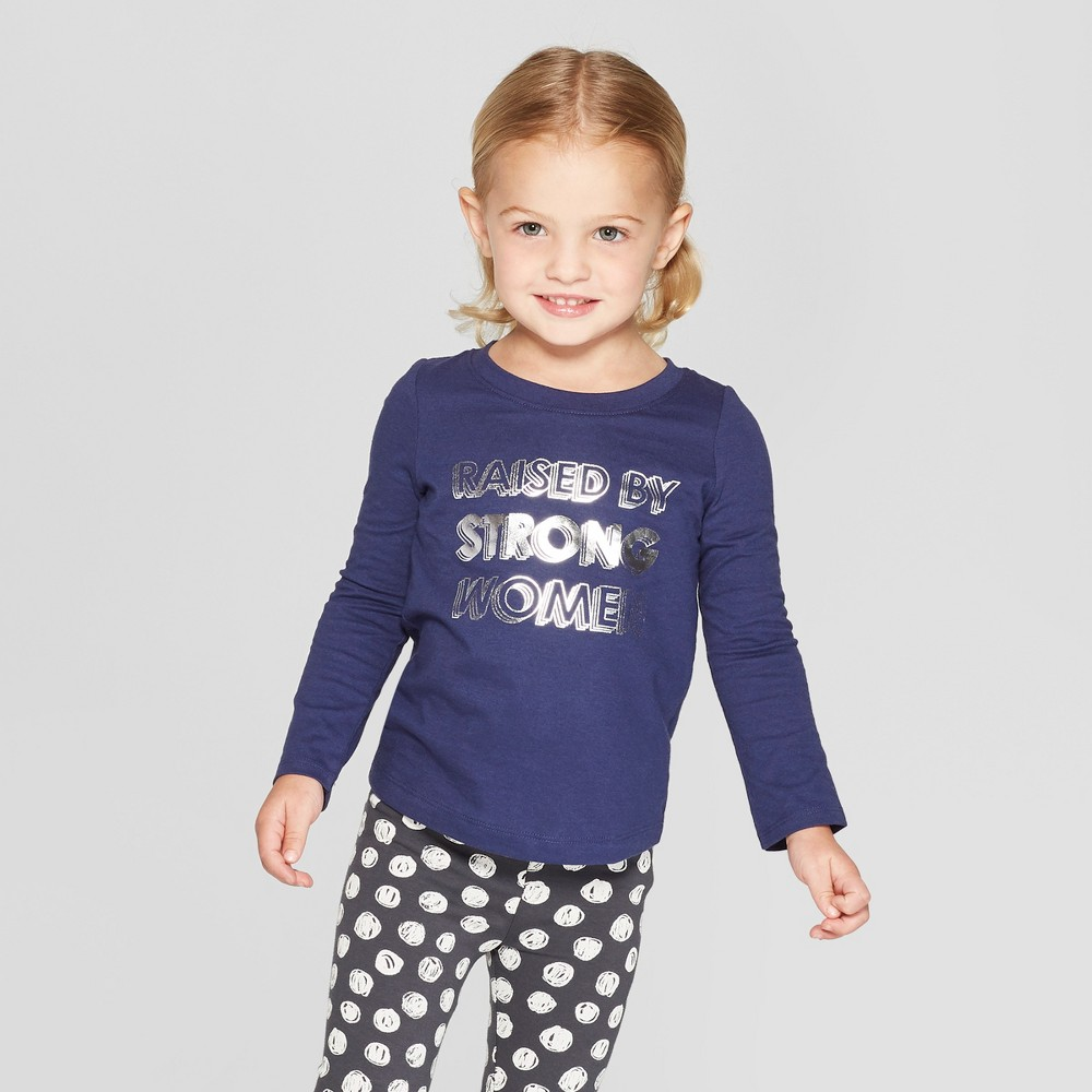 Toddler Girls' Long Sleeve 'Raised by Strong Women' Graphic T-Shirt - Cat & Jack Navy 4T, Blue