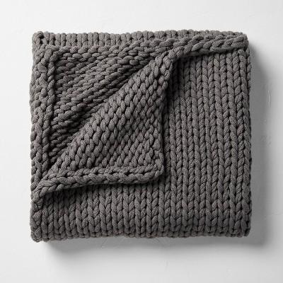 """50""""x70"""" Oversized Solid Bed Throw Dark Gray - Casaluna™"""