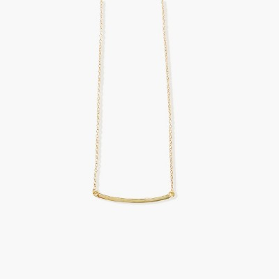 Sanctuary Project Thin Curved Bar Necklace Gold