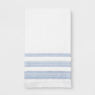Chambray Border Stripe Bath Towel White/Blue - Threshold™