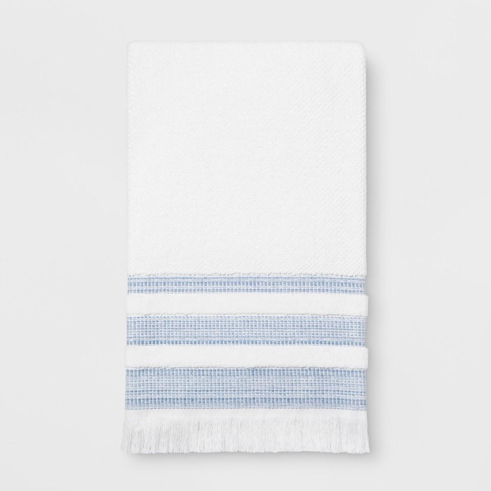 Chambray Border Stripe Bath Towel White/Blue - Threshold, White Blue