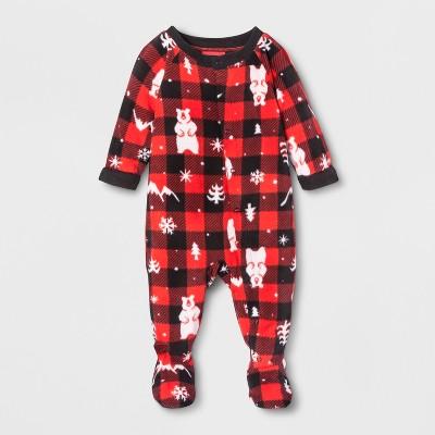 Baby Holiday Bear Footed Sleeper - Wondershop™ Red 6-9M
