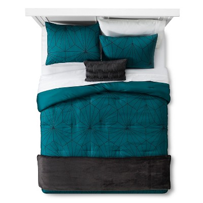 Teal Linework Geometric Comforter Set (Full/Queen)5pc - Room Essentials™