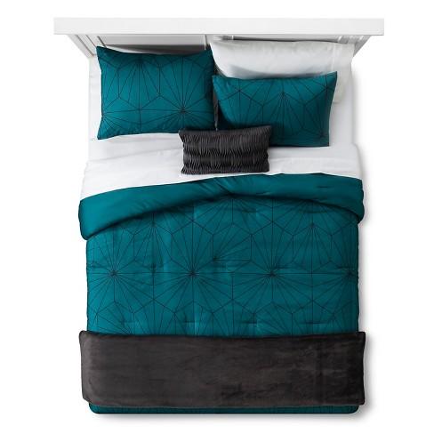 Teal Linework Geometric Comforter Set Full Queen 5pc