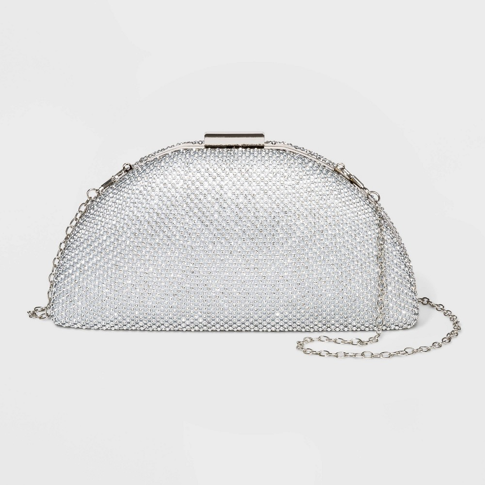 Image of Estee & Lilly Crystal Mesh Half Moon Minaudiere Clutch - Sliver, Women's, Size: Small, Silver