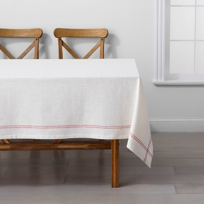 60 x84  Rectangle Tablecloth Sour Cream with Red Cording - Hearth & Hand™ with Magnolia