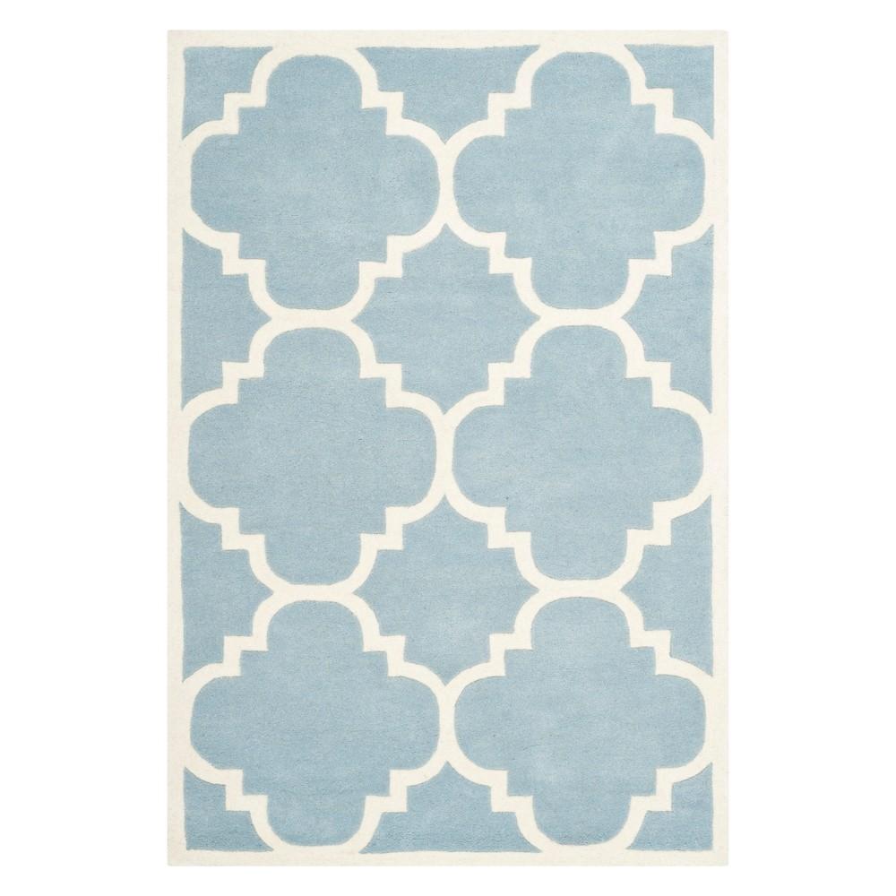 4'X6' Quatrefoil Design Tufted Area Rug Blue/Ivory - Safavieh