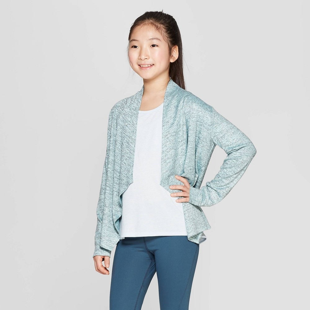 Image of Girls' Studio Cardigan - C9 Champion Green S, Girl's, Size: Small