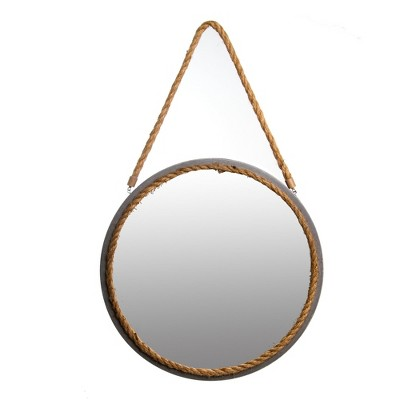 16 x16  Distressed Gray Round Rope Decorative Wall Mirror Gray - Patton Wall Decor